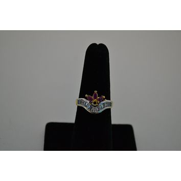 Gold-Plated CZ Stone and Ruby -Studded ring