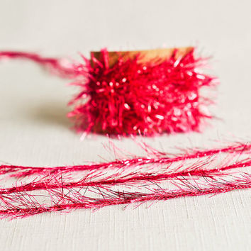 Tinsel Twine in Bright Pink - 6 Yards - Hot Pink Girl Ribbon Cord Trim Festive Garland Pretty Packaging Gift Wrapping Wedding Party Decor