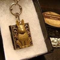 Victorian Style Easter Bunny Rabbit Book Locket Necklace (1767)
