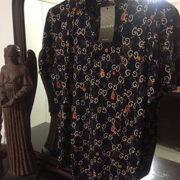 Gucci Shirt 'Size 2XL'(Gucci Ghost Line!! Silk w marble buttons!!)👻🔥🔥