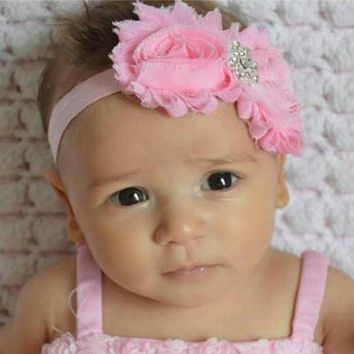 Pink Shabby Bling Baby Girl Headband and Barefoot