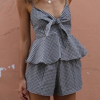 Plaid Spaghetti Straps Crop Top with Shorts Two Pieces Set