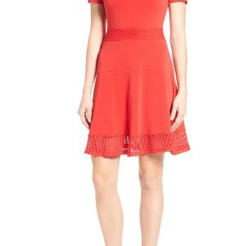 MICHAEL Michael Kors Mesh Combo Fit & Flare Dress (Regular & Petite) | Nordstrom
