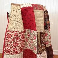 """Throw Quilt Josephine HANDMADE Made To Order Patchwork Sofa Throw Lap Quilt French General Moda Red Cream Chocolate 57x67"""""""