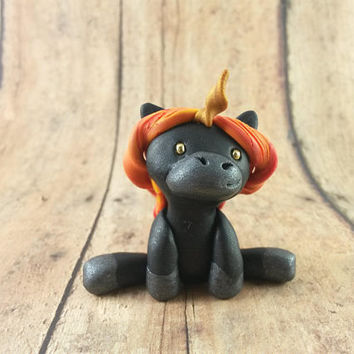Fire Unicorn Figurine, Fire Unicorn Figure, Unicorn Sculpture, Polymer Clay Unicorn, Clay Unicorn, Fire Pony, Fire Horse, Fantasy Horse
