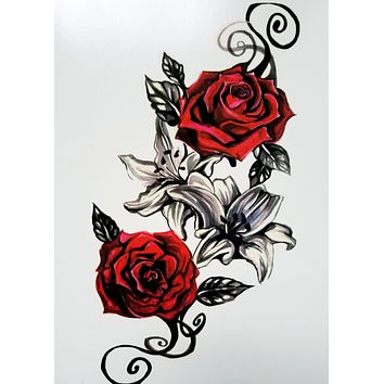 Vintage Red Rose Realistic Temporary Tattoo