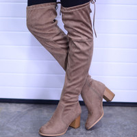 Walking Tall Over-The-Knee Boots- Taupe