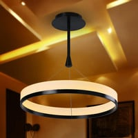 Modern Warm White LED Acrylic Shade Aluminum Ring Pendant Light Max 25W Black