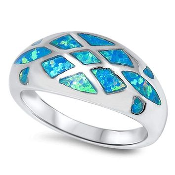 Rounded Dome Ring with Mosaic Inlay Blue Opals Sterling Silver Ring