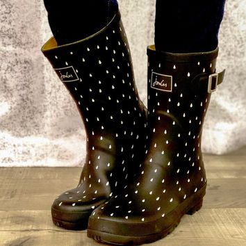 Joules Mid-Height Black Rain Dotted Boots