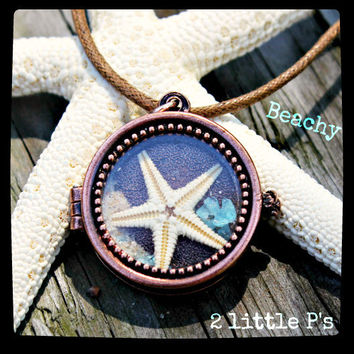 Copper Beach Locket filled with Real Ocean Treasures