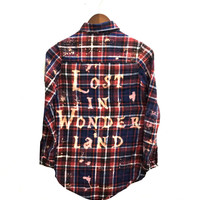 Lost in Wonderland Shirt in Navy Plaid Flannel