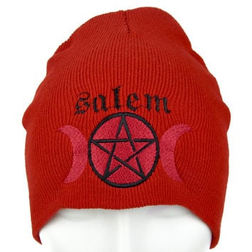 Salem Moon Goddess Pentagram Beanie Wicca Knit Cap Witchcraft