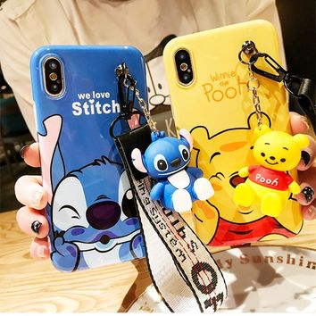 Super cute Stitch mini Pooh dinosaur lanyard+tand silicone case for iphone 6 7 8 Plus X XR XS MAS phone cases