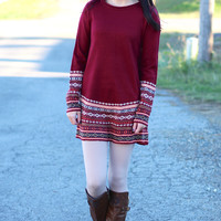 Nordic Sweater Dress {Burgundy}