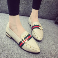 GUCCI autumn new wild rivets shallow mouth flat peas shoes fashion pointed casual shoes Gold