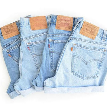 SALE! Levi Brand Plain High Waisted Denim Shorts