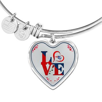 Luxury Love New England Patriots Bracelet Handcrafted Can Be Engraved Any TEXT (Stainless/Gold)
