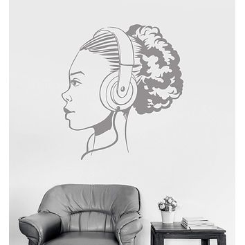Wall Vinyl Decal Teen Girl Music Headphones Art Room Stickers Mural Unique Gift (ig3126)