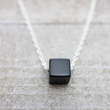 Black onyx cube silver necklace