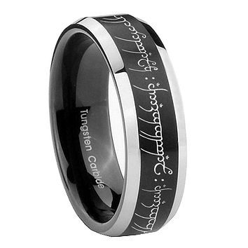 10mm Lord Of The Ring Beveled Brush Black 2 Tone Tungsten Mens Ring Engraved