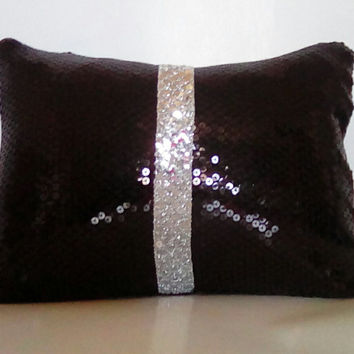 Glossy Black Sequins with Silver Sequin Trim Luxury Lumbar Pillow Cover