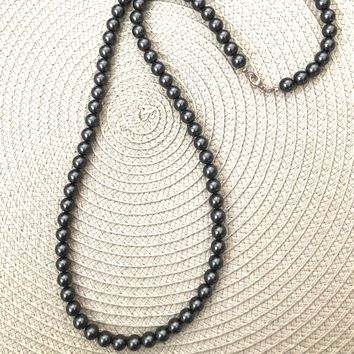 Mens Jet Hematite Long Beaded Necklace 82ac7571d5