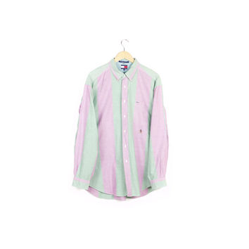 90s TOMMY HILFIGER striped oxford shirt / vintage 1990s / button up dress shirts / pastel pink green / classic / hip hop / mens L - XL
