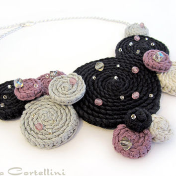 Crochet necklace,crochet fiber swirl necklace,crochet fiber necklace,geometric necklace,purple,orchid,black,gray,christmas gift for her