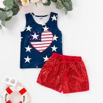 Navy Stars Heart Flag Outfit Sequin Top And Shorts