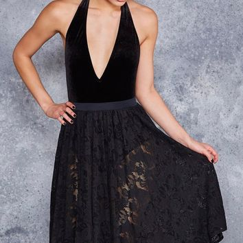 BLACK LACE MIDI SKIRT - LIMITED