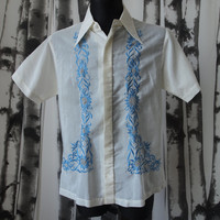 Vintage Austria's Balibago Island Blue Floral Embroidered White Summer Leisure Cuban Shirt