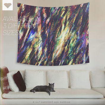Rabid rainbows, Wall tapestry. Modern, abstract, colorful wall decor. Trendy, home decor. Wall hanging. Colorful. Large decor. Boho decor.