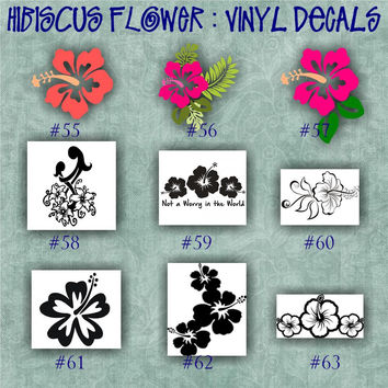 HIBISCUS FLOWER vinyl decal | water bottle decal | car decals | car stickers | laptop sticker - 55-63