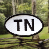 "Tennessee TN Patch - Iron or Sew On - 2"" x 3.5"" - Embroidered Oval Applique - Volunteer State - Black White - Hat Bag Accessory Handmade USA"