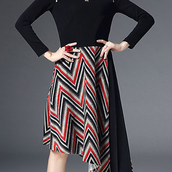 Black Long Sleeve Chevron Spliced Asymmetric Dress