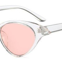 Catty Girl Sunglasses Vintage Style - Clear Pink Lense