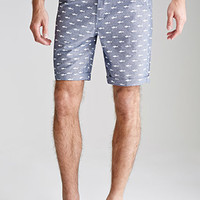 Shark Print Oxford Shorts