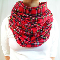 Red Plaid Infinity Scarf, Red Tartan Flannel Scarf, Oversized Scarf, Chunky Scarf, Christmas Tartan, Fall Winter Scarf, Womens Scarf, Gift