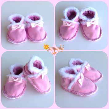 Baby Pink Suede Moccasins Girl Booties Infant Girl Crib Shoe Slipper Girl Soft Sole Shoe