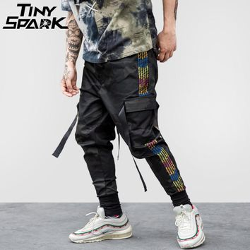 Hip Hop Cargo Pant Street wear Men Harem Pant Multi Pocket Camouflage Trousers Side Stripe Casual Pant Swag Ribbon