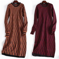 """FENDI"" Popular Women Sexy F Letter Long Sleeve Round Collar Knit Show Dress"