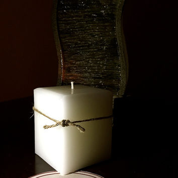 Square White Pillar Candle. 16 oz beautiful candle.