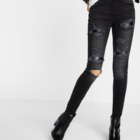 mid rise distressed sequin jean legging