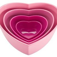 Amazon.com: Zak Designs 4-Piece Heart-Shaped Serving Bowl Set, Pink: Kitchen & Dining