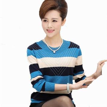 Leisure Pullover Striped Plus Size Sweaters