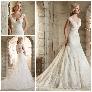 Lace V neck Cap Sleeve Long Elegant Mermaid Wedding Gown