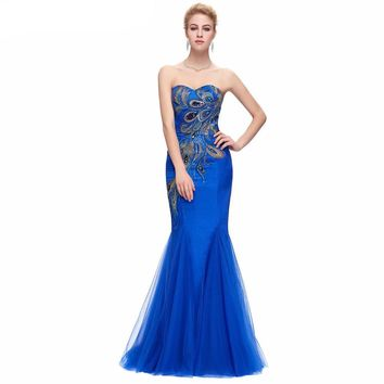 Luxury Peacock Appliques Mermaid Long Evening Dresses Royal Blue Black Tulle Prom Dress Evening Gown