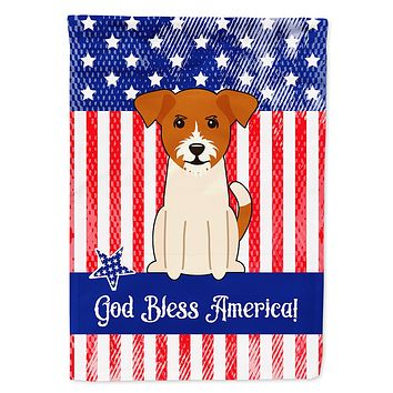 Patriotic USA Jack Russell Terrier Flag Canvas House Size BB3103CHF