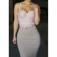 BLUSH Milanna Scallop Bustier Lace Top - Jaide Clothing
